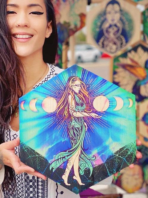 """Moon Goddess"" - Large Hexagon Wood Art"