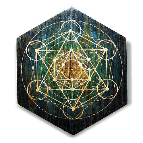 """Metatron's Cube"" Hexagon Wood Art"