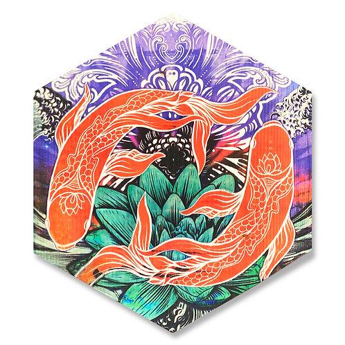"""""""Harmony"""" YinYang Koi - Large Hexagon Wood Art"""
