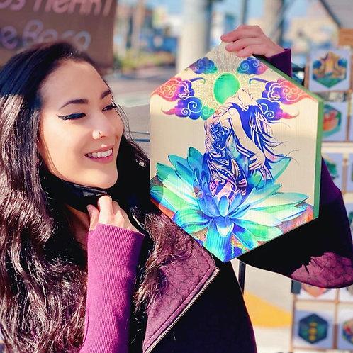 """Goddess Born from a Lotus""- Large Hexagon Wood Art"