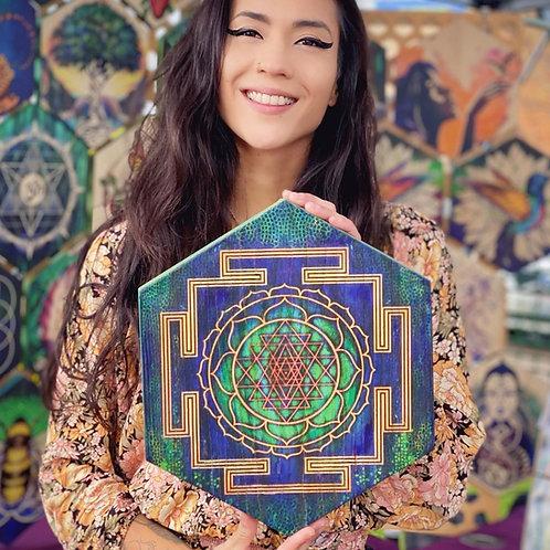 """Sri Yantra Mandala"" in Gold, Aqua & Indigo - Large Hexagon Wood Art"