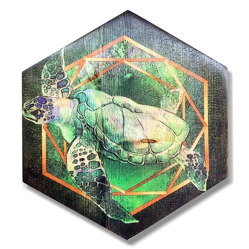 """""""Sea Turtle"""" in Green Hexagon Wood Art"""