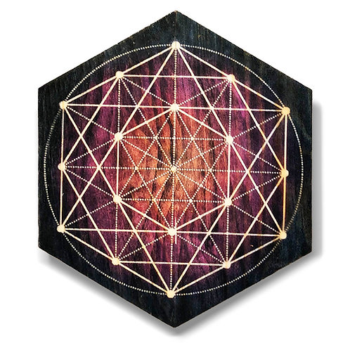 """""""Sacred Geometry"""" Hexagon Wood Art"""