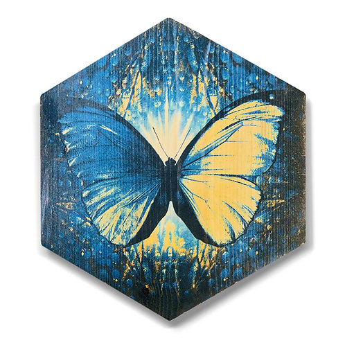 """Blue Butterfly"" Hexagon Wood Art"
