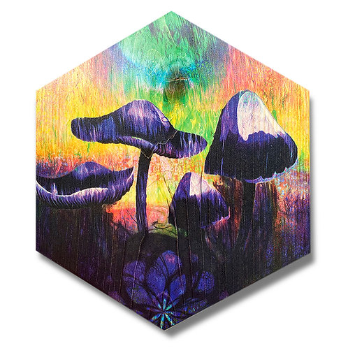 """Mystic Mushrooms"" Large Hexagon Wood Art"