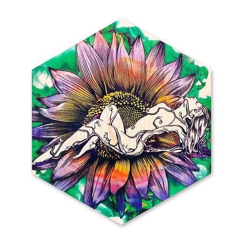 """Sunflower Goddess""- Large Hexagon Wood Art"