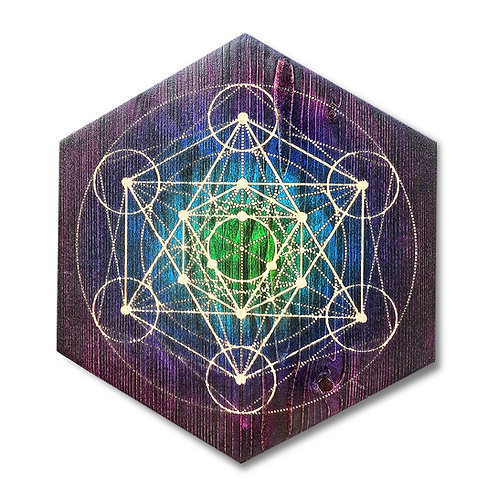 """Metatron's Cube"" Hexagon Wood Art"