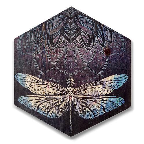 """Indigo Dragonfly"" Large Hexagon Wood Art"