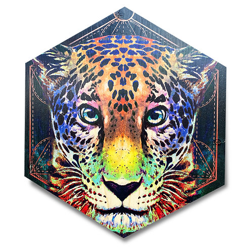 """Vibrant Jaguar"" - Large Hexagon Wood Art"