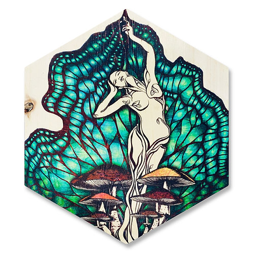 """Nature Goddess"" in Aqua - Large Hexagon Wood Art"