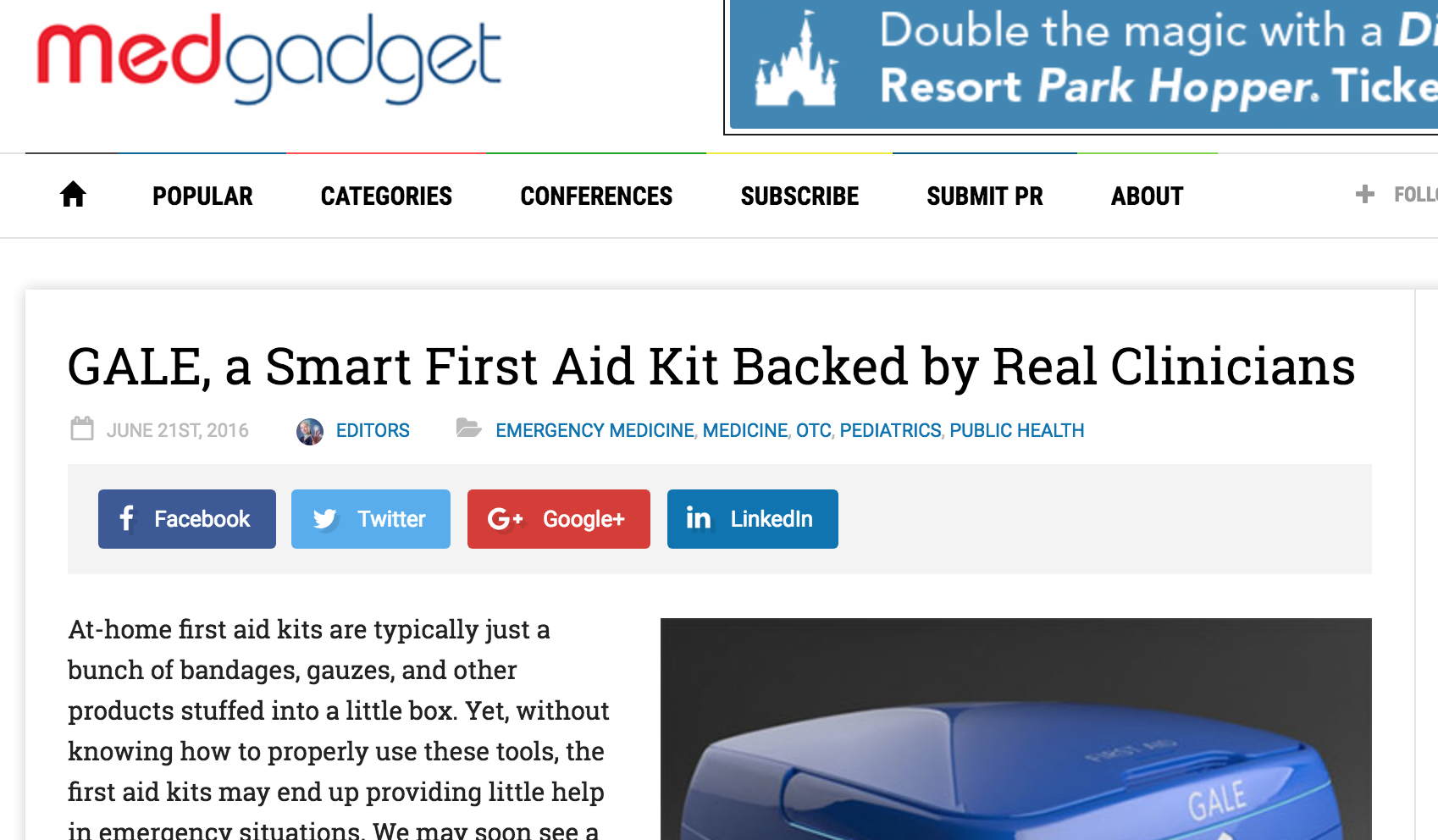 GALE, a Smart First Aid Kit Backed by Real Clinicians