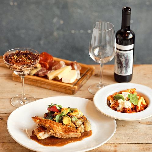 Antipasto, Primo, Secondo + Wein und Dessert