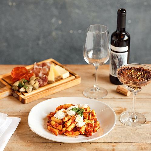 Antipasto, Primo + Wein und Dessert