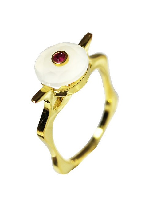 White Chalcedony and Ruby Cocktail Ring