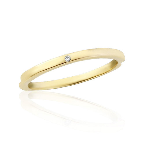 Yellow Gold Midi Ring Flush Set With Natural Diamond