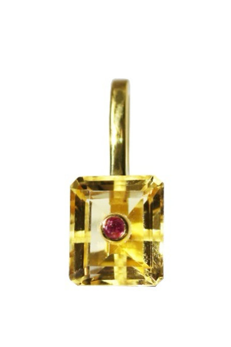 Emerald Cut Citrine and Ruby Cocktail Pendant