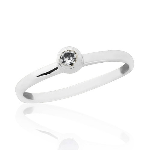White Gold Midi Ring With Natural Diamond
