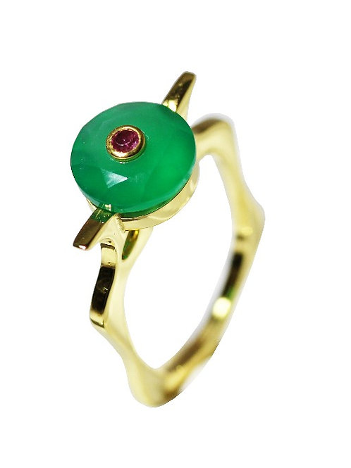 Green Chalcedony and Ruby Cocktail Ring