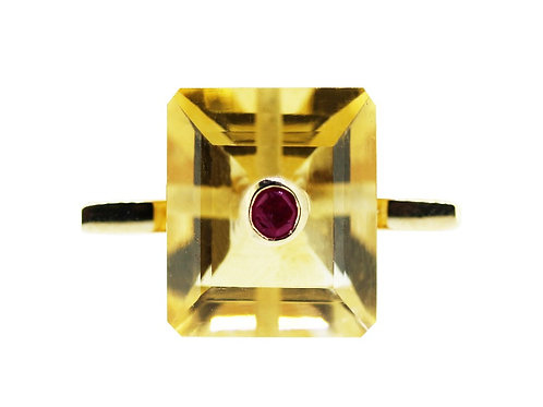 Emerald Cut Citrine and Ruby Cocktail Ring