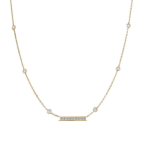 Swing Yellow Gold Necklace set with Natural Diamonds