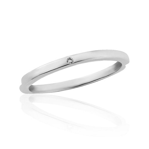 White Gold Midi Ring Flush Set With Natural Diamond