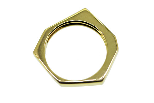 Asymmetrical yellow gold with diamond ring