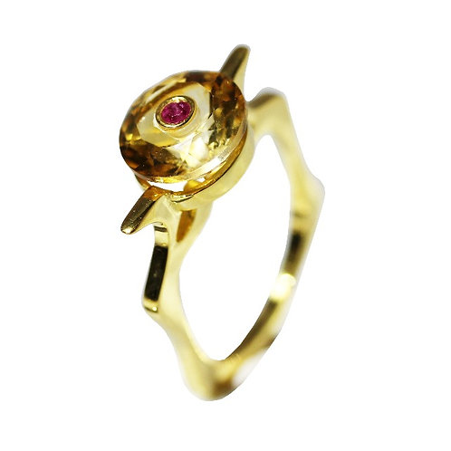 Citrine and Ruby Cocktail Ring