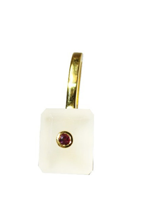 Emerald Cut White Chalcedony and Ruby Cocktail Pendant