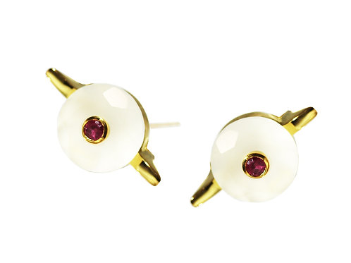 White Chalcedony and Ruby Cocktail Studs