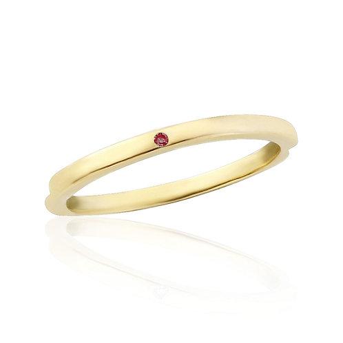 Yellow Gold Midi Ring Flush Set With Natural Garnet