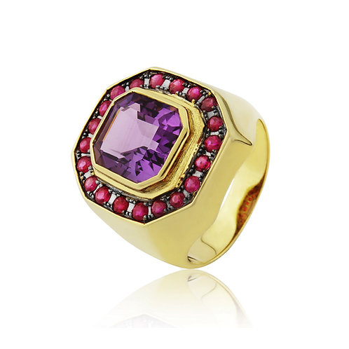 Amethyst and Ruby Hexagonal Signet Ring