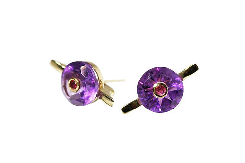 Amethyst and Ruby Cocktail Studs