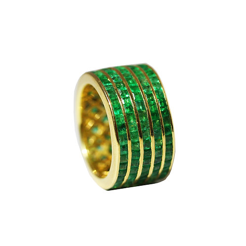 Princess Cut Emerald Laser Stripes Ring