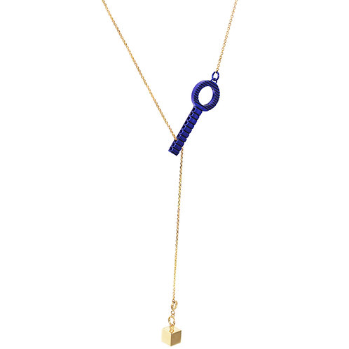 Vivid Blue Sterling Silver Necklace with Detachable Charm
