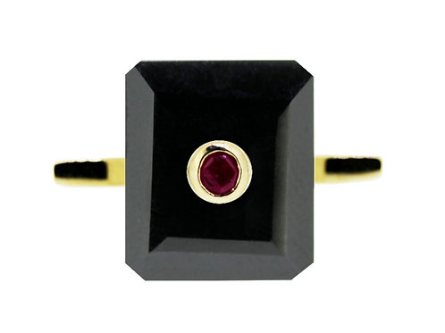 Emerald Cut Onyx and Ruby Cocktail Ring