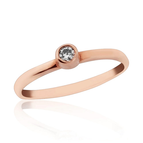 Rose Gold Midi Ring With Natural Diamond
