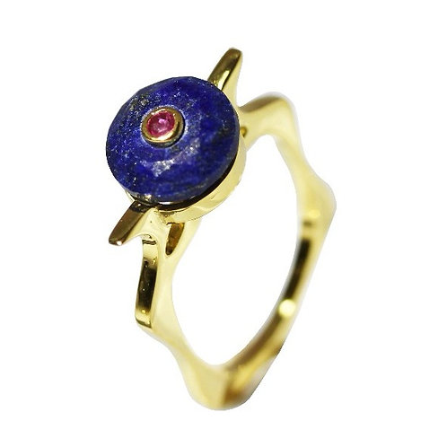 Lapis Lazili and Ruby Cocktail Ring