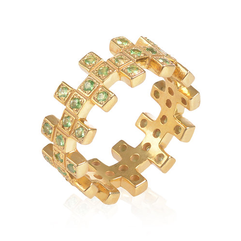 Short ZigZag Yellow Gold and Green Garnet Ring
