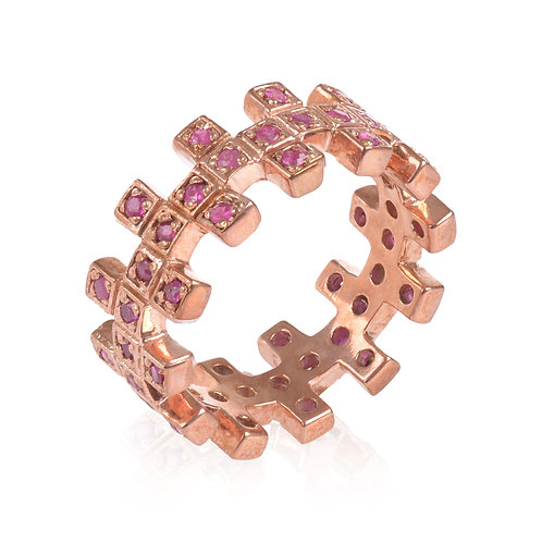 Short ZigZag Rose Gold ad Ruby Ring