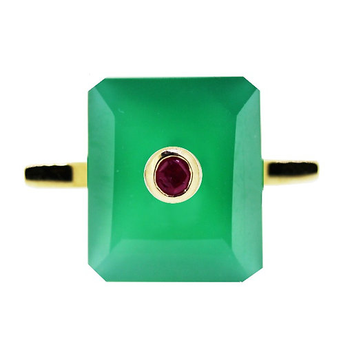 Emerald Cut Green Agate and Ruby Cocktail Ring