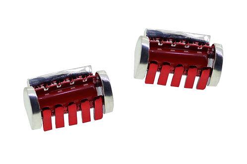 Red thread bobbin earrings