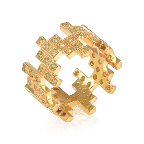 ZigZag Yellow Gold Vermeil and Green Garnet Ring