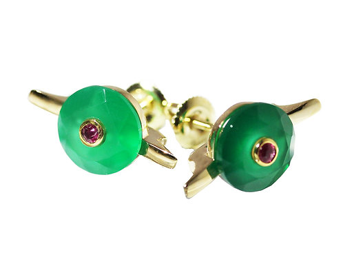 Green Chalcedony and Ruby Cocktail Studs