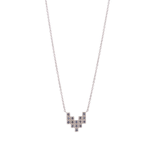 ZigZag Silver and Sapphires Charm Necklace