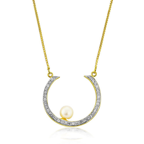 9ct Solid Yellow Gold Necklace set with Pearl and Diamonds