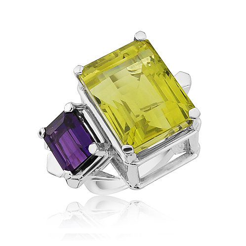 Lemon Quartz and Amethyst Cocktail Ring