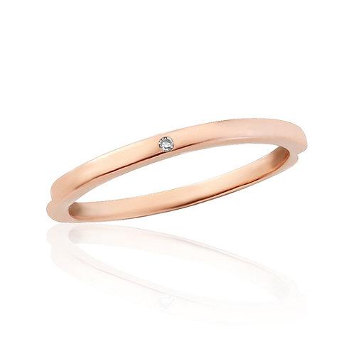 Rose Gold Midi Ring Flush Set With Natural Diamond
