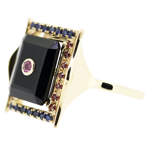 Emerald Cut Onyx and Ruby Diva Cocktail Ring