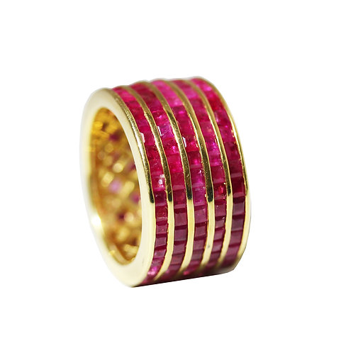 Princess Cut Ruby Laser Stripes Ring
