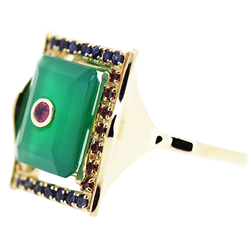 Emerald Cut Green Agate and Ruby Diva Cocktail Ring